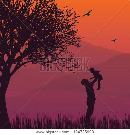 silhouette dad hold up baby son in the air fatherhood happy moments vector