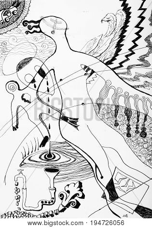 Black and white chaotic abstract drawing of showing the real world.