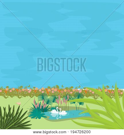 two swans in small pond in the midle of greens illustration of couple love vector