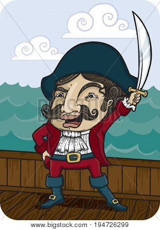 Fancy pirate sailing the seven seas. Vector Illustration.