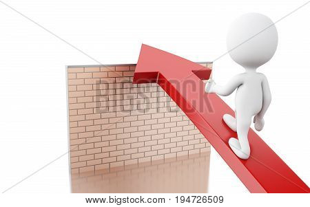 3D White People On Arrow Overcome Brick Wall