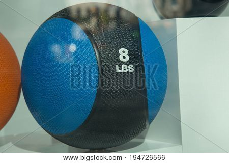 Blue black weightball no people fitness concept