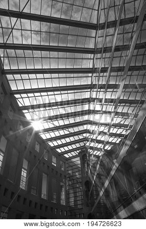 Black and white modern building tramsparent roof