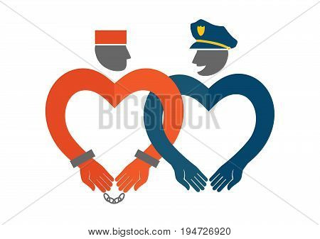 Vector icon of a policeman and a prisoner. Funny positive illustration for the day of hugs and Valentine's day. Concept of love. Promotion of tolerance.