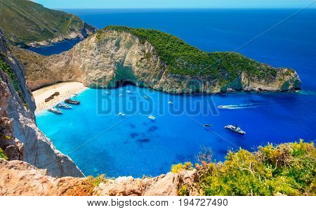 Visiting card of the island of Zakynthos. Bay Navagio. One of the most beautiful places in the World. View from a height of more than 500 meters. The Ionian Sea with the most beautiful