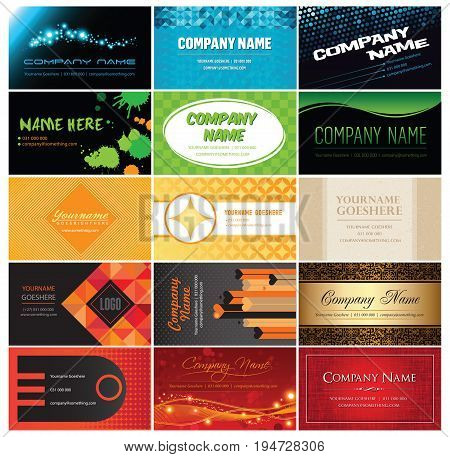 Fifteen quality vector business card designs in five color themes.