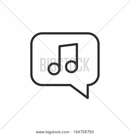 Music note in bubble line icon outline vector sign linear style pictogram isolated on white. Tune symbol logo illustration. Editable stroke