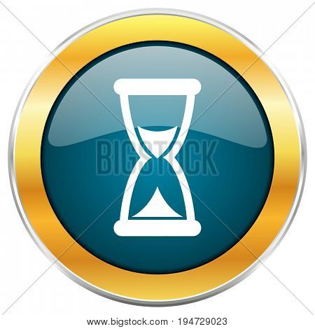 Hourglass time clock blue glossy round icon with golden chrome metallic border isolated on white background for web and mobile apps designers.