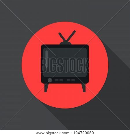 Old tv flat icon. Round colorful button Television circular vector sign logo illustration. Flat style design