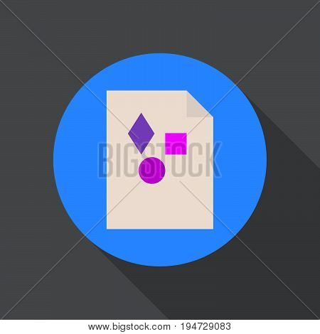 Media file flat icon. Round colorful button circular vector sign logo illustration. Flat style design