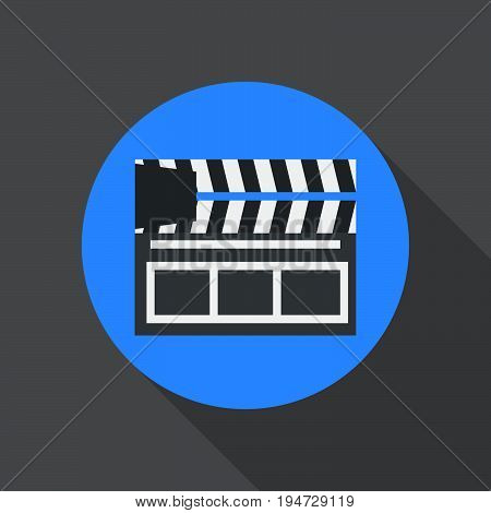 Clapperboard flat icon. Round colorful button Cinema clapper circular vector sign logo illustration. Flat style design