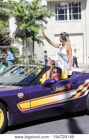 Honolulu, Hawaii - May 30, 2016: Waikiki Memorial Day Parade - Miss Aloha State