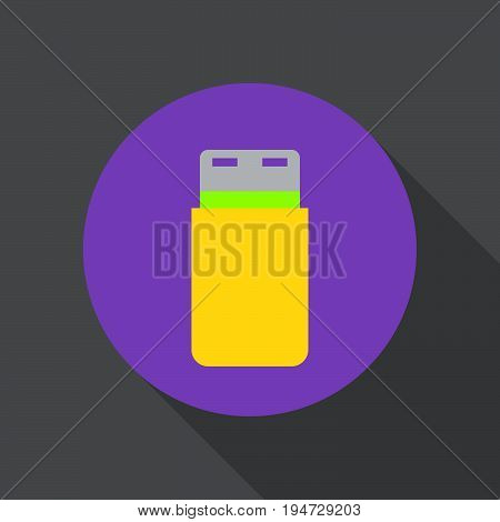 USB flash drive flat icon. Round colorful button circular vector sign logo illustration. Flat style design