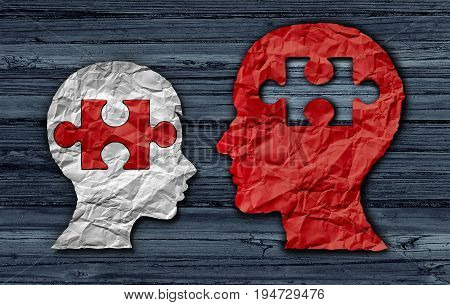 Teaching a student education concept as an adult teacher educating a young child as crumpled paper shaped as a head and jigsaw puzzle piece as a learning solution in a 3D illustration style.