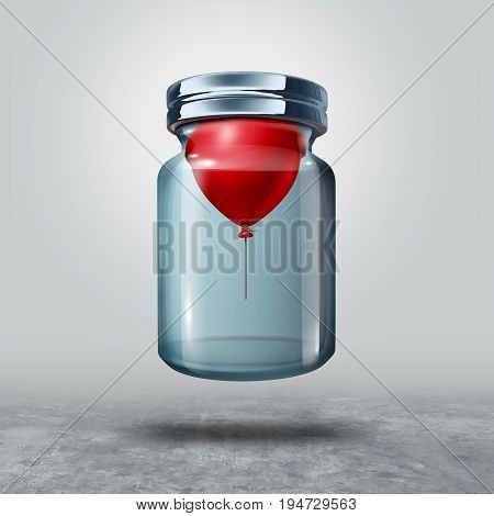 Can not be held down business or life metaphor as a balloon in a closed bottle lifting the glass as a power concept and freedom symbol as a 3D illustration.