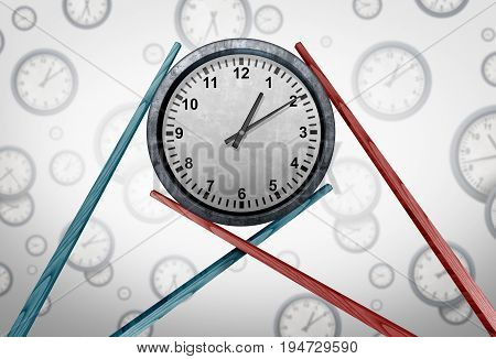 Asia schedule management and Asian time zone coordination as two sets of chopsticks holding a clock together as a global business meeting concept as a 3D illustration.