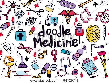 Health care and medicine doodle background. seamless background doodle .Vector hand drawn illustration.