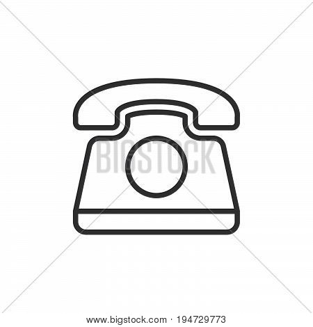 Old telephone line icon outline vector sign linear style pictogram isolated on white. Phone symbol logo illustration. Editable stroke. Pixel perfect graphics