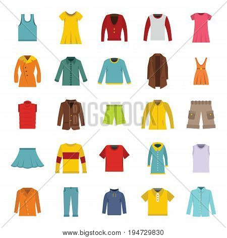 Vector Set of Fashion clothes in flat style. Various male and female clothing
