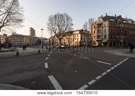 STUTTGART GERMANY- MARCH 16 2016: Evening street in the central part of the city. Stuttgart is the capital and largest city of the state of Baden-Wuerttemberg.