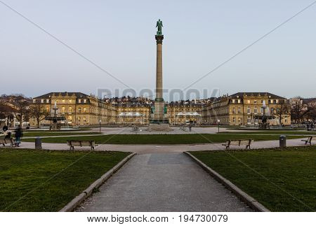 STUTTGART GERMANY- MARCH 16 2016: Das Neues Schloss (New Castle) and Schlossplatz with commemorative column dedicated to King Wilhelm I (Wuerttemberg).