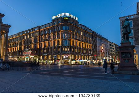 STUTTGART GERMANY- MARCH 16 2016: The historic shopping street in the central part of the city - Koenigstrasse (King Street) and Schlossplatz.