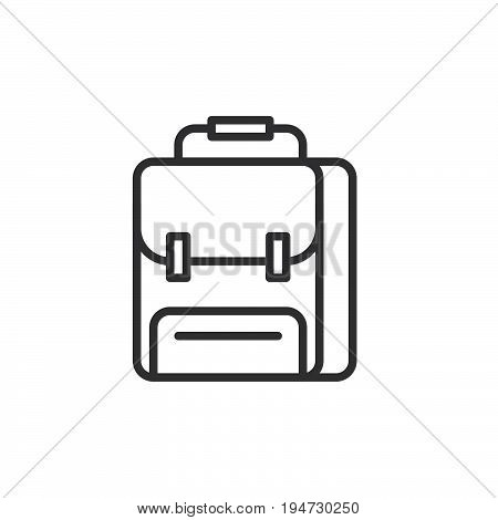 School backpack line icon outline vector sign linear style pictogram isolated on white. Symbol logo illustration. Editable stroke