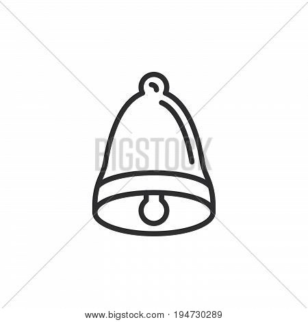 Bell line icon outline vector sign linear style pictogram isolated on white. Alarm symbol logo illustration. Editable stroke