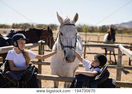 Two smiling girls caressing the horse on a sunny day