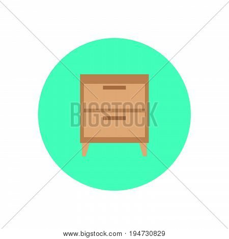 Bedside cabinet flat icon. Round colorful button circular vector sign logo illustration. Flat style design
