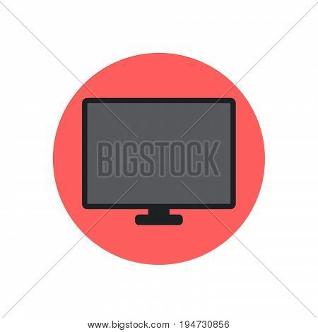 LCD TV Screen flat icon. Round colorful button circular vector sign logo illustration. Flat style design