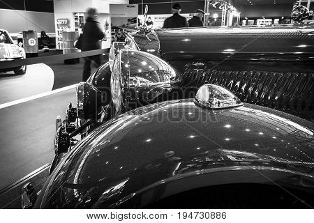 STUTTGART GERMANY- MARCH 17 2016: Fragment of vintage car Mercedes-Benz Typ 320 (W142)