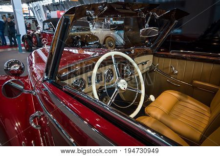 STUTTGART GERMANY- MARCH 17 2016: Cabin of luxury car Mercedes-Benz 170S (W191)