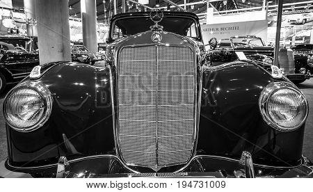 STUTTGART GERMANY- MARCH 17 2016: Fragment of a full-size luxury car Mercedes-Benz 220
