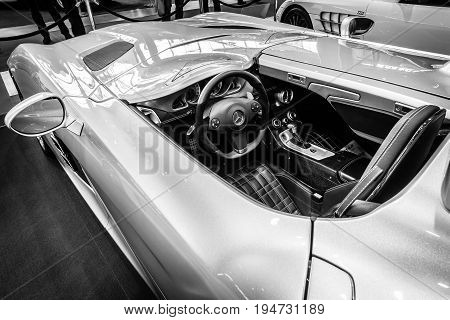 STUTTGART GERMANY- MARCH 17 2016: Cabin of grand tourer car Mercedes-Benz SLR Stirling Moss (limited edition 75 vehicles) 2009. Europe's greatest classic car exhibition