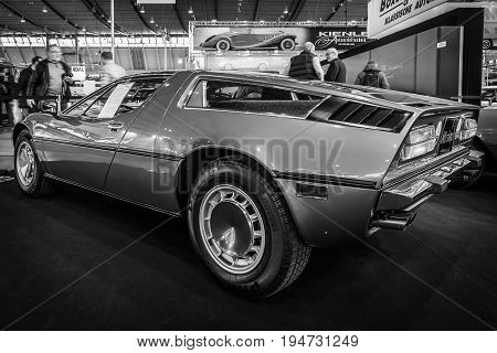 STUTTGART GERMANY - MARCH 17 2016: Sports car Maserati Bora 49 1973. Rear view. Black and white. Europe's greatest classic car exhibition