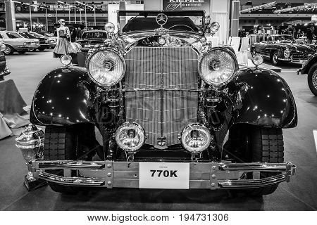 STUTTGART GERMANY - MARCH 17 2016: Full-size luxury car Mercedes-Benz 770K Cabriolet D (W07) 1931. Black and white. Europe's greatest classic car exhibition