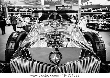STUTTGART GERMANY - MARCH 17 2016: Fragment of full-size luxury car Mercedes-Benz 770K Cabriolet D (W07) 1931. Black and white. Europe's greatest classic car exhibition