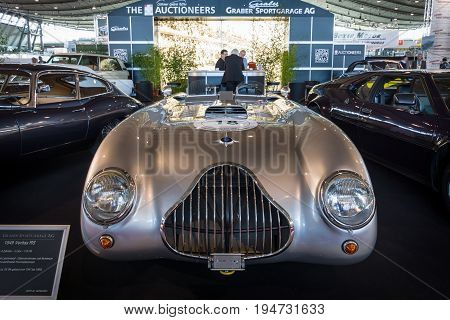 STUTTGART GERMANY - MARCH 17 2016: Racing car Veritas RS with the 6-cylinder engine of the BMW 328 1949. Europe's greatest classic car exhibition