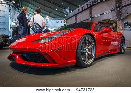 STUTTGART GERMANY - MARCH 17 2016: Sports car Ferrari 458 Italia 2014. Europe's greatest classic car exhibition