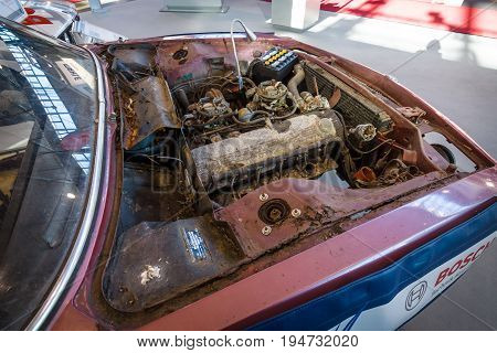 STUTTGART GERMANY - MARCH 17 2016: A dirty and defective engine of the car BMW E9 Coupe 1970. Europe's greatest classic car exhibition