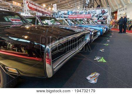 STUTTGART GERMANY - MARCH 17 2016: Various Dodge Charger (Muscle car) modesl 500 and R/T are standing in a row. Europe's greatest classic car exhibition