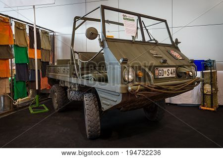 STUTTGART GERMANY - MARCH 17 2016: Lightweight all-wheel drive SUV Steyr-Puch Haflinger 700 AP 1967. Europe's greatest classic car exhibition