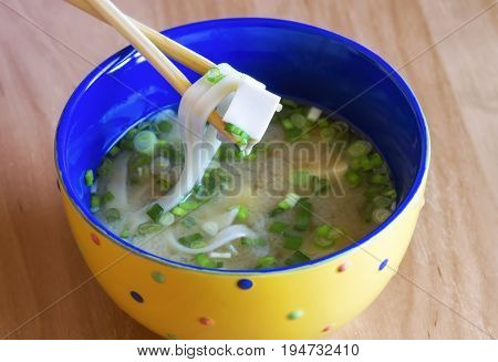 Delicious traditional japanese miso soup in the bowl. Asian cuisine
