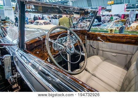 STUTTGART GERMANY - MARCH 17 2016: Cabin of full-size luxury car Mercedes-Benz 770K Cabriolet D (W07) 1931. Europe's greatest classic car exhibition