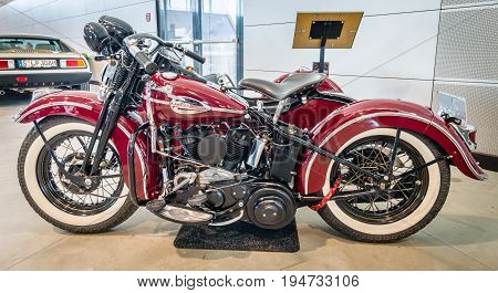 STUTTGART GERMANY - MARCH 17 2016: Motorcycle Harley-Davidson WLA 45 Gespann 1944 with sidecar Simard Rocketman 1934. Europe's greatest classic car exhibition
