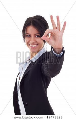 Woman Satisfied With Results - Ok Sign