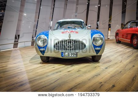 STUTTGART GERMANY - MARCH 17 2016: Racing car Mercedes-Benz 300 SL (W194) 1952. Europe's greatest classic car exhibition