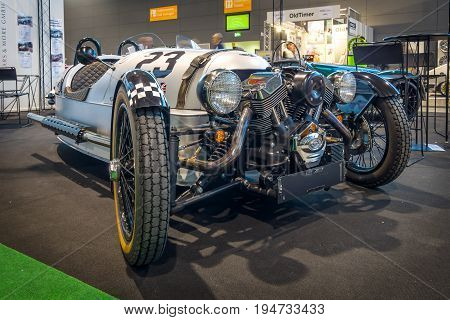 STUTTGART GERMANY - MARCH 17 2016: Three-wheeler car Morgan M3W SUPERDRY 2013. Europe's greatest classic car exhibition