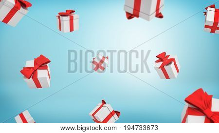 3d rendering of a lot of white closed gift boxes tied with red ribbons falling from above on blue background. Gifts and surprises. Bonuses and promotions. Receive free gift.